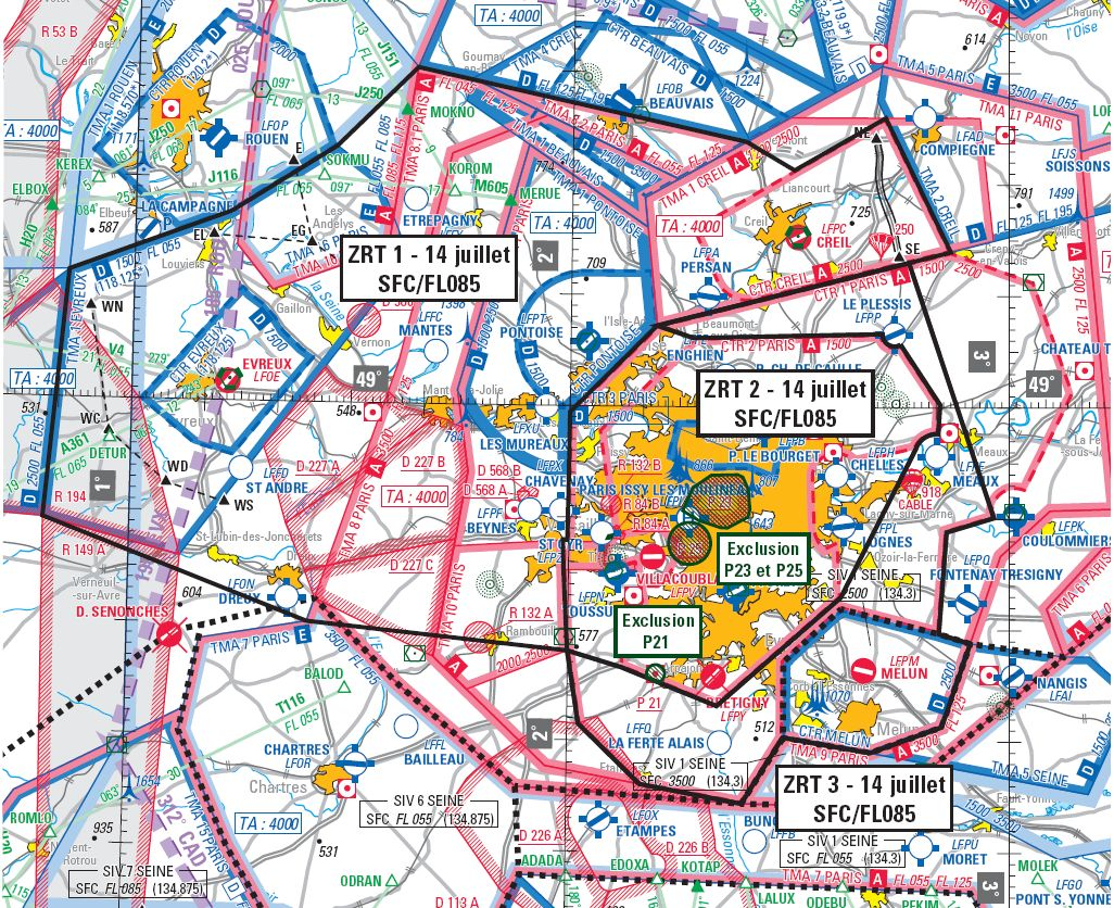 Carte Aeronautique Region Parisienne.Trois Zrt Pour 14 Juillet Volets10 Fr